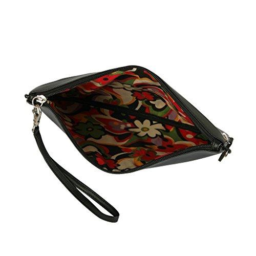 Menkai borsa della donna tracolla disegno Royal Blue farfalla 651D1 Wine Red