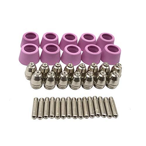 Magiin AG-60 Plasmazubehör Verschleißteile Plasmadüsen + Elektroden + Keramikkappen für AG-60 / SG-55 Cut Plasmaschneider-Brenner (40 Pcs)