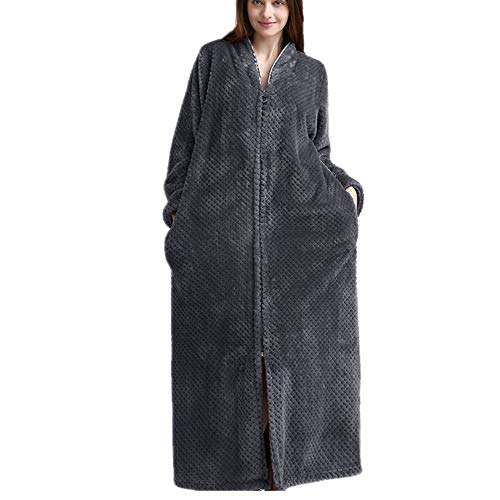 DUJUN Albornoz Largo extendido para Mujer (M a XL), camisón con Cremallera, Microfibra (100% poliéster) - 2 Bolsillos, cinturón - Albornoz Suave, Absorbente y cómodoGrisXL