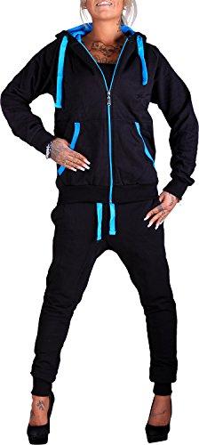 Damen Jogging-Anzug | Uni 704 (M-fällt groß aus, Schwarz-Blau) (Damen Schwarz Trainingsanzug)