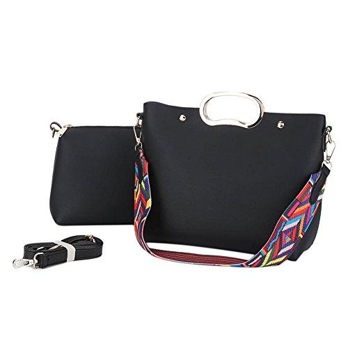 Semplice nastro colorato Limitazione del sacchetto di cuoio della spalla donne 2 pezzi Rosso Nero