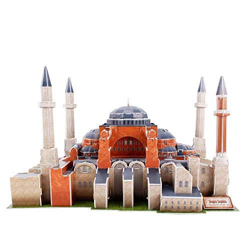 Hagia Sophia/Ayasofya 3D-Puzzle-Modell, Modell Einer 3D-Stadt Kein Klebstoff erforderlich Hohe Simulation Tischdekoration Feiertagsspielzeuggeschenk 225 Spleißabrieb 37 × 31 × 23 cm