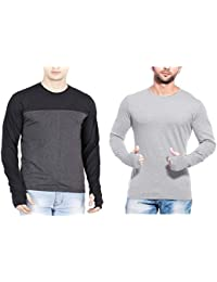 T Shirts For Man Grey&Multicolour Full Sleeve Thumb-hole Round Neck Cotton Men T-Shirt - Pack Of 2