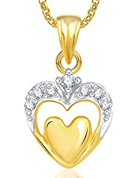 Valentine Gifts Meenaz Heart Pendants For Women Girls With Chain Gold Plated In American Diam...