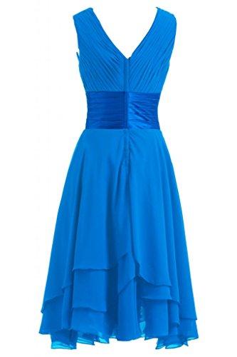 Victory Bridal Einfach V-Ausschnitt Hi-Lo mit Falten Knielang Abendkleider Kurz Chiffon Tanzkleider Sommerkleider Brautjungfernkleider Blau