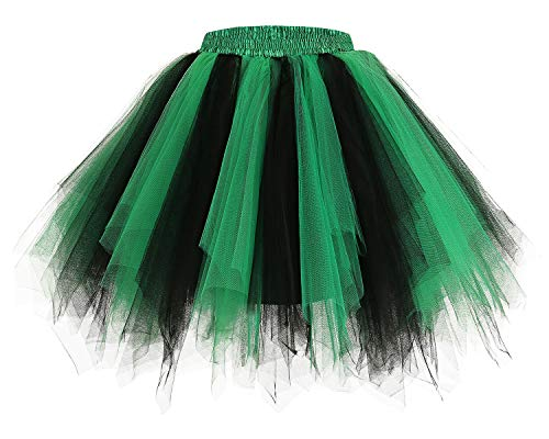 bridesmay Tutu Damenrock Tüllrock 50er Kurz Ballet Tanzkleid Unterkleid Cosplay Crinoline Petticoat für Rockabilly Kleid Black-Green XL (Tutu Kleid Für Halloween)