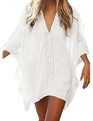 Walant Robe de Plage pour Femmes V-Cou Bikini Cache-Maillots Taille Unique Coton mélangé Dentelle Chemise Robe Couvrir Beach Maillots de Bain Cover Up