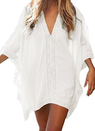 Walant Robe de Plage pour Femmes V-Cou Bikini Cache-Maillots Taille Unique Coton mélangé Dentelle Chemise Robe Kimono Cover Up Maillots de Bain, Blanc