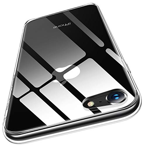 Humixx iPhone 8 Hülle,iPhone 7 Hülle,Hochwertigem 9H Anti-Gelb Glas Rückseite mit Soft TPU Weich Rahmen Schutzhülle,Ultra Dünn Transparent Crystal Clear Handyhülle für iPhone 7/8 - Klar