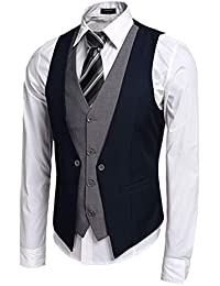 Coofandy Gilet de Costume Homme Veste sans Manche Casual Mariage Taille S- XXL b4761ae8190