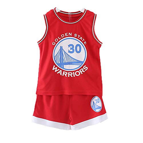 Kleine Jungen Basketball Jersey Boys Basketball Jersey 2-Piece Basketball Tank Top Shorts Set 23, Unisex,Rot,L