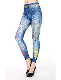 Ostenx Jeans Leggins bunt, versch. Farben Tattoo-Prints Jeggings Hose Leggins 34 36 38