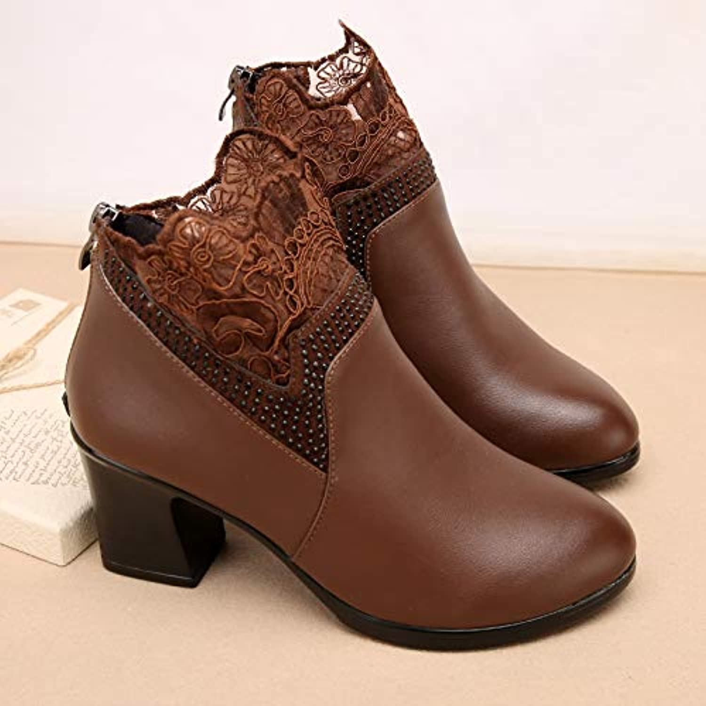 Shukun Bottes Bottes des mères Bottes d'hiver des Femmes épaisses avec avec épaisses épaissie avec des Bottes Martin Chaussures... b513c5