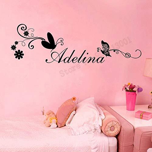Schmetterling personalisierte Namen Wandaufkleber Design Wandbild Mädchen Raumdekoration Applique Dekoration