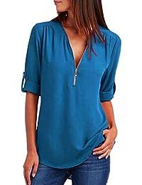 ❤️Mode Femmes Casual Tops T-Shirt Lâche Haut à Manches Longues Blouse Tefamore