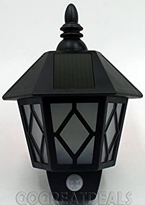 0.5w Solar Powered Wall Lantern Garden Fence Wall Led Lamp With Motion Sensor IP44 produced by Kingavon - quick delivery from UK.