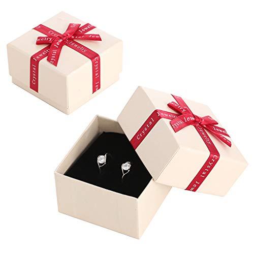 TTLOVE SchmuckkäStchen, Band Bogen Ring Ohrringe Schmuckschatulle Karton Aufbewahrungsbox, Geeignet FüR Den PersöNlichen Gebrauch Und Geschenke