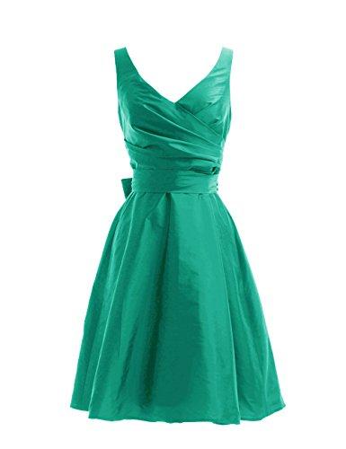 Dressystar Robe de demoiselle d'honneur/de soirée courte, à Col en V, Sans Manches, avec une Ceinture, en Taffetas Vert