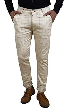 AOLOPY-9 Men's Cotton Checkered Trouser