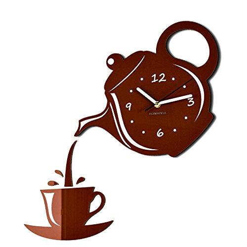 Orologio da parete da cucina tazza e bricco marrone grigia silenzioso moderno per bar 3 d decorativo