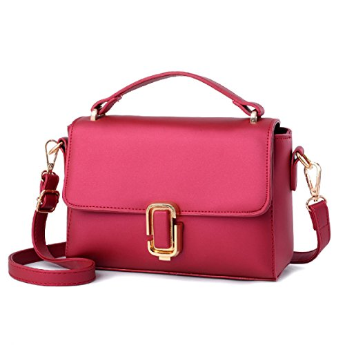 FZHLY 2017 In Pelle New Spring Piccola Piazza Del Signore PU Buckle Messenger Bag,LakeBlue WineRed