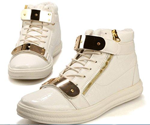 CSDM Men's Casual Fashion High Help Chaussures en métal Plaques Chaussures de course Basketball Sports Chaussures de course White