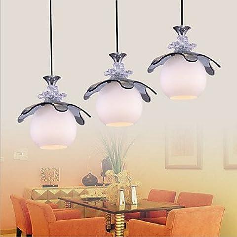 Putian @Plafoniera 3 luci in vetro con design moderno, di altezza regolabile, 220-240 V, colore: bianco