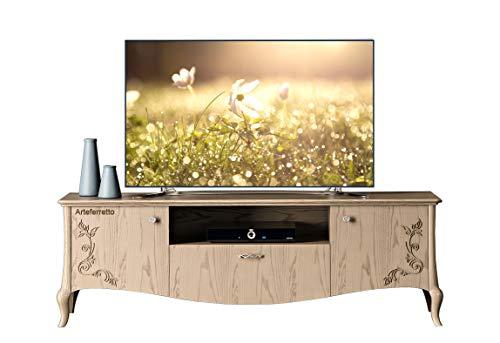 Artigiani Veneti Riuniti TV-Bank klassisch elegant 2 Türen 1 Schubfach 1 Fach, TV-Möbel aus Holz im eleganten Stil für Einrichtung Wohnzimmer.