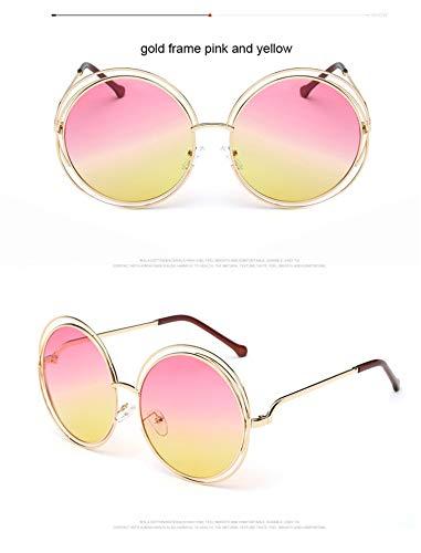 AOCCK Sonnenbrillen,Brillen, Luxury Vintage Round Big Oversized Lens Mirror Brand Designer Pink Sunglasses Lady Cool Retro UV400 Women Sun Glasses Unisex GOLD PINK YELLOW
