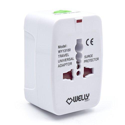 International Travel Power Adapter (Welly Enjoy WY13100 Internationale Reisen Power-Stecker-Adapter für US UK EU AU alles In eine Welt weit Universal AC100-240V Überspannung geschützt tragbare Konverter Buchse Ladegerät Weiß)