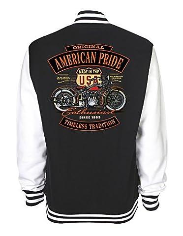 Motorrad Classic Oltimer Vintage Sweat College Jacke (2XL,
