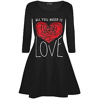 Womens Ladies All U Need Love Heart Valentines Long Sleeve Swing Mini Dresses