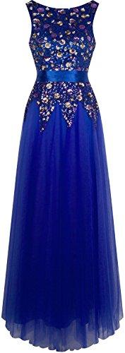 Angel-fashions Damen Schaufelhals Blumen Paillette Selbstbindung Gurtel Ballkleid Blau