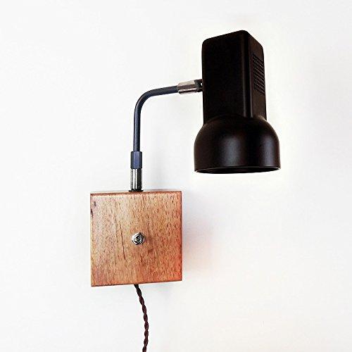 Lampada da parete con interruttore a bilanciere del braccio della lampada da parete camera da letto Lampada da parete Lampada da comodino semplice legno Lampada da parete ( colore : Nero )