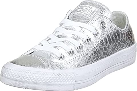 Converse Damen Schuh Chuck Taylor Ox Schlangenhautmuster Silber / weiß, Größe:41.5