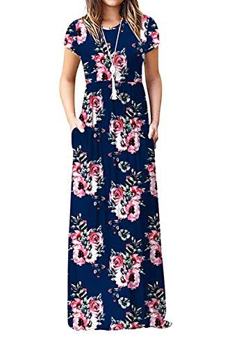 Damen Sommerkleider Kurzarm Lose Blumen Maxikleider Casual Lange Kleider mit Taschen, Marine, XXL - Lange Ärmel, Eine Tasche