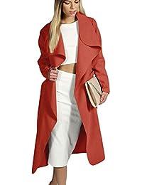 Chaqueta Larga De Mujer Abrigo Trench Parka Coat Outwear Con Cinturón