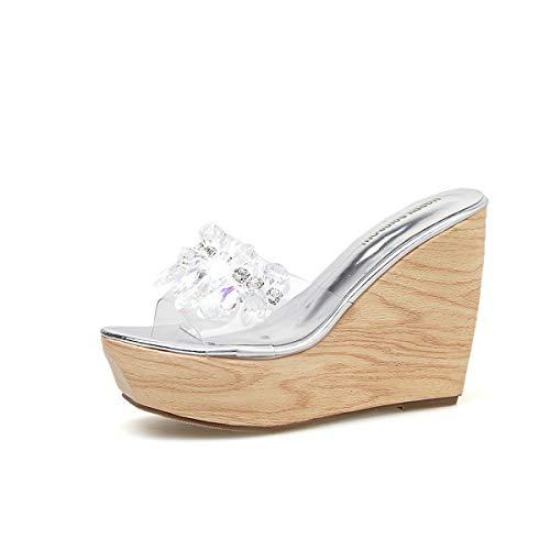 YAN Frauenplattform Slippers 2019 New Beaded Rhinestone Wedge Schuhe Peep Toe Fashion Ladies Schuhe High Heels Peep Toe Clogs & Mules,A,39 Heel Mule
