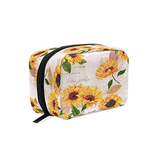 (Aquarell-Sonnenblumen-Make-up-Tasche, Kosmetiktasche, Kulturbeutel, Reisetasche für Damen, gelbe Blumen, tragbare Aufbewahrungstasche)