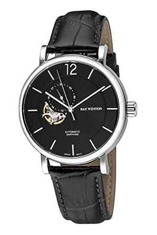 Ray Winton pour homme Wi0605automatique analogique Squelette Cadran noir Croc-embossed véritable Cuir Noir montre