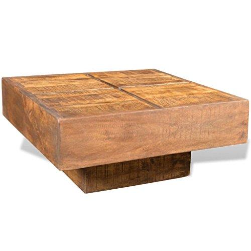 vidaXL Table Basse carrée Marron Style Antique en manguier