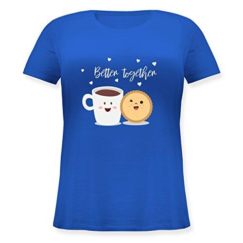 Shirtracer Valentinstag - Better Together - Lockeres Damen-Shirt in Großen Größen mit Rundhalsausschnitt Blau