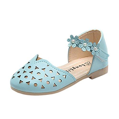 FNKDOR Baby Kinder Mädchen Mode Sandalen Blumen Prinzessin Schuhe (21,Blau) (Blume Prinzessin Samt Kind Kostüm)