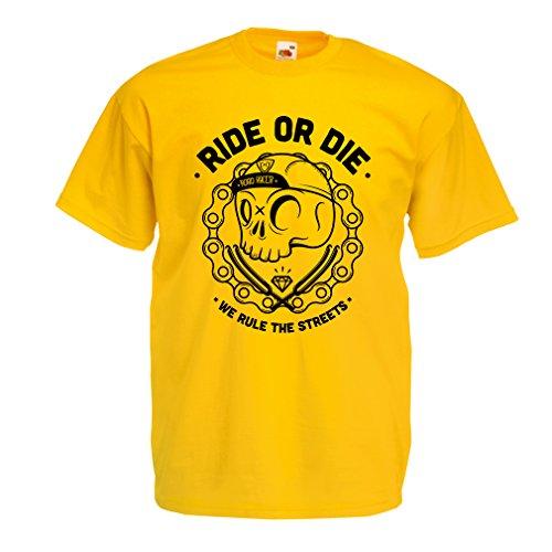 lepni.me N4611 Camiseta Ride or Die (Large Amarillo Multicolor)