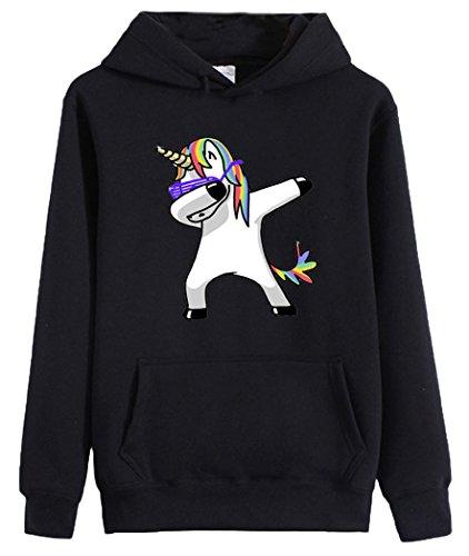 Eudolah Damen Hoodie Einhorn Sweatshirt pullover Sport Schwarz Gr.M