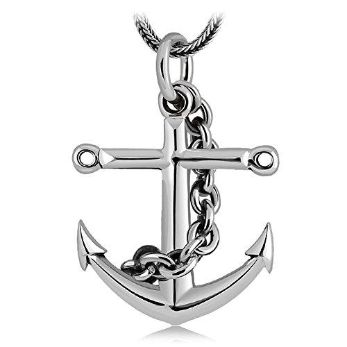 intage Schiff Anker Halskette für Männer 51cm Silber Kette 32 * 29mm Anhänger ()