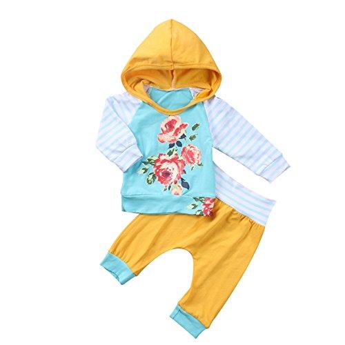 Neugeborenes Baby Langarm Blumendruck Kapuzen T-Shirt Top und Hosen Trainingsanzug Gymnastik-Outfit Set für Jungen und Mädchen von (Von Kostüme Halloween Ideen 11 Für Alter Für Mädchen Im)