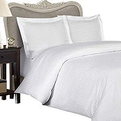 Juego de sábanas de 6 piezas, 1200 hilos (blanco a rayas, tamaño King, 150 x 200 cm), bolsillo de 42 cm, 100% algodón egipcio de calidad superior