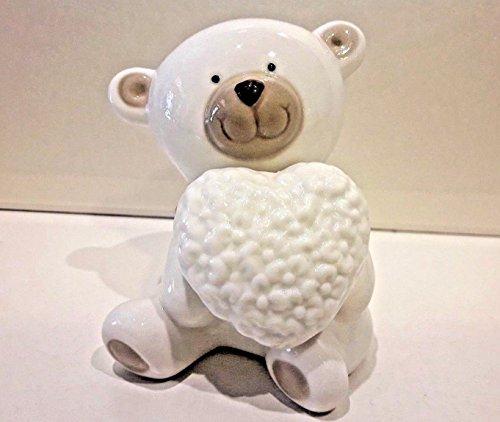 Bomboniere stock battesimo comunione orso orsetto gr cuore in porcellana