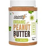 Pintola Organic All Natural Creamy Peanut Butter, 1Kg (Unsweetened, Non-GMO, Gluten Free, Vegan)